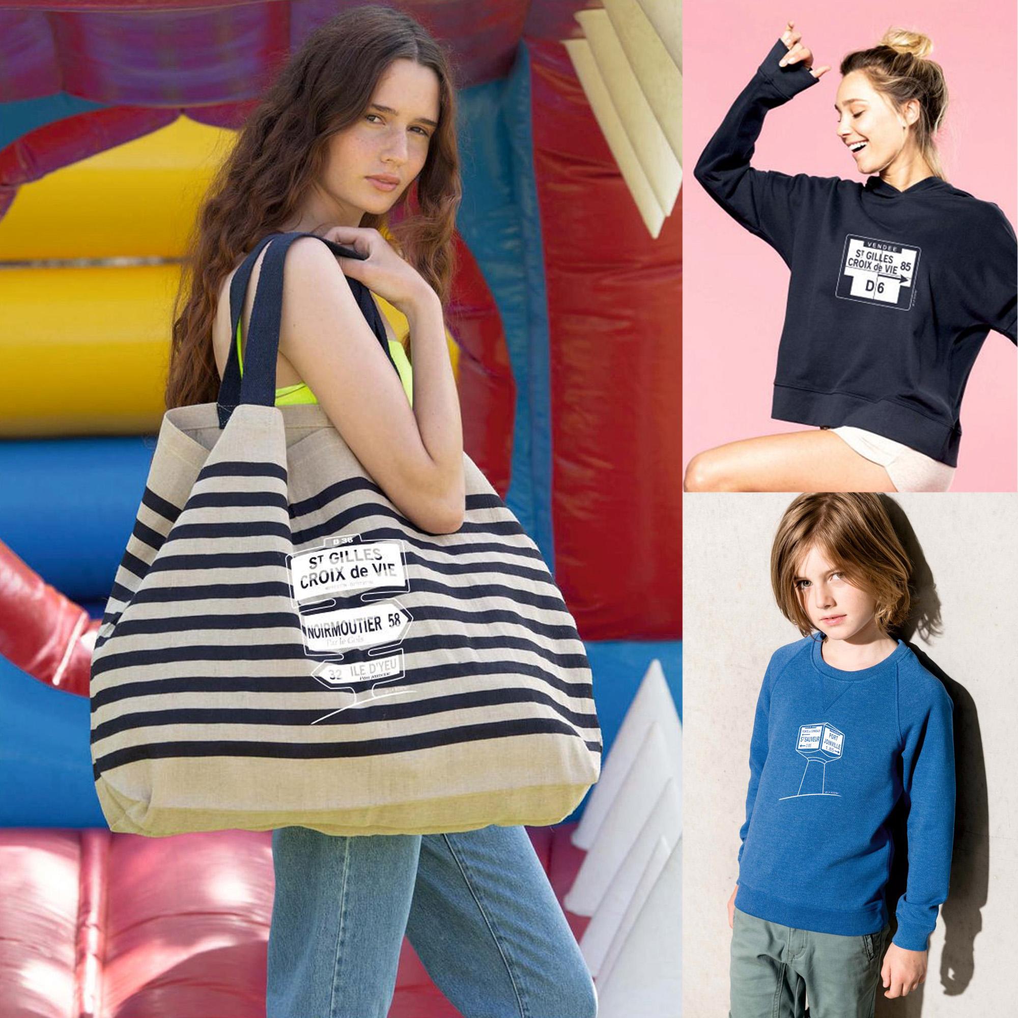 La Borne, collection de vêtements et accessoires 100% coton bio, créée par Tex'ti impressions, 85800 Le Fenouiller